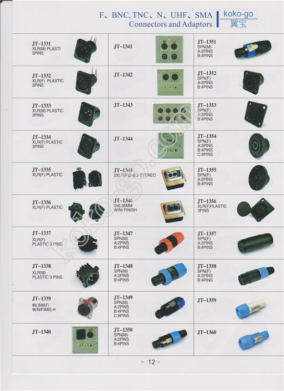 12--F,BNC,TNC,N,UHF,SMA connectors and adapters