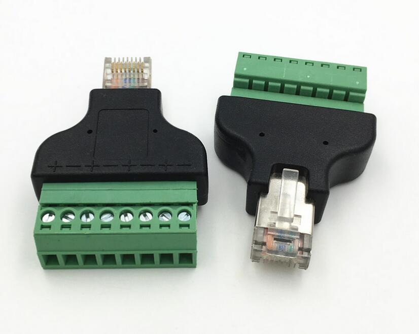 Ethernet 8P8C RJ45 Male Plug to AV Screw Terminal