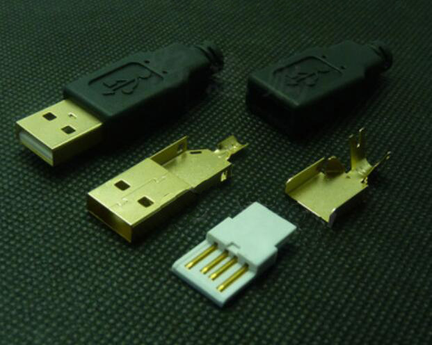 High-end DIY USB gold-plated solderable plug A mal